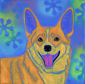 """Cheerful Corgi"" - Retro Corgi Matted Print"