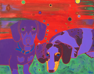 """Double the Wienies, Double the Fun"" - Dachshund Art Matted Print"