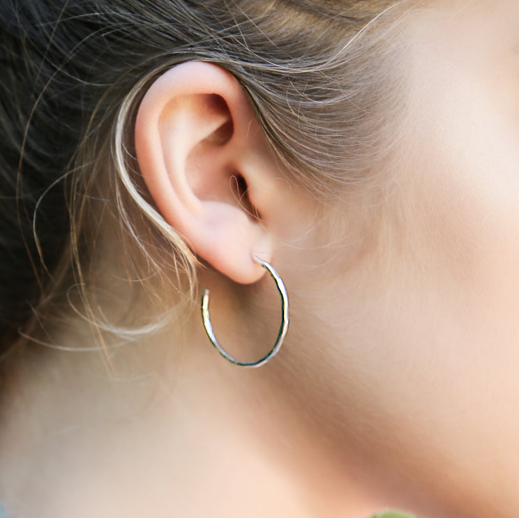 Hammered Hoop Earrings - sterling silver