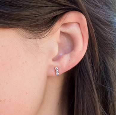 Mini Beaded Studs - sterling silver
