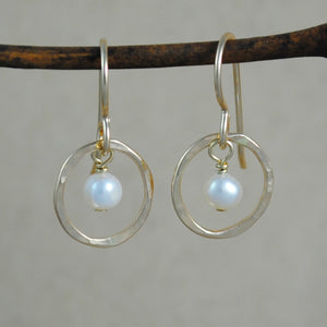 Pearl Halo Earrings - gold filled