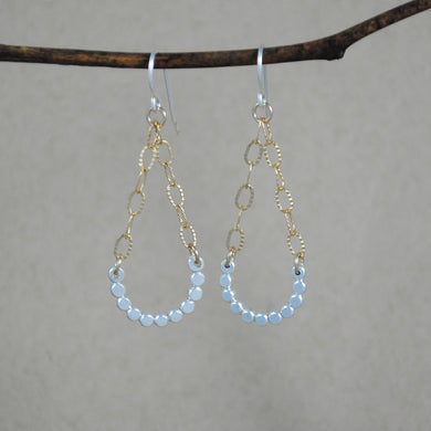 Small Beaded Swing Earrings - mixed metals