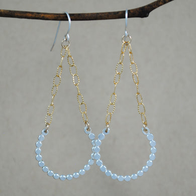 Large Beaded Swing Earrings - mixed metals