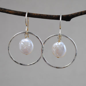 Large Ring and Small Coin Pearl Earrings - gold-filled
