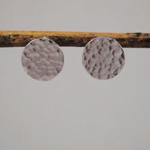 Hammered Disc Stud Earrings - gold-filled