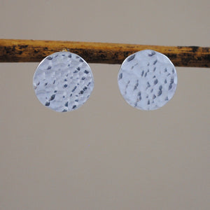Hammered Disc Stud Earrings - sterling silver