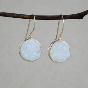 Small Wrapped Druzy Earrings - gold-fill