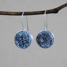 Small Wrapped Druzy Earrings - sterling silver