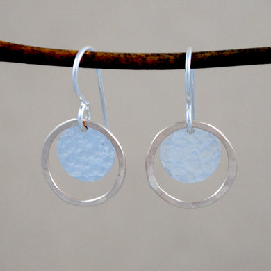 Hammered Halo Earrings - mixed metals
