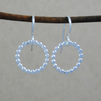 Small Beaded Circle Earrings - sterling silver