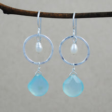 Circle and Stone with Pearl Earrings - sterling silver