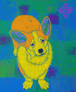 """Eternal Sunshine"" - Corgi Art Matted Print"