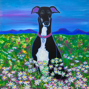 """Field of Dreams"" - Greyhound Art Matted Print"