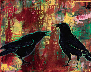 """Heated Monologue"" - Crow Art Matted Print"