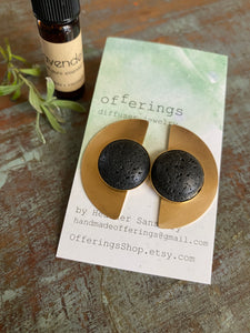 Lava Diffuser Earrings - Brass & Lava