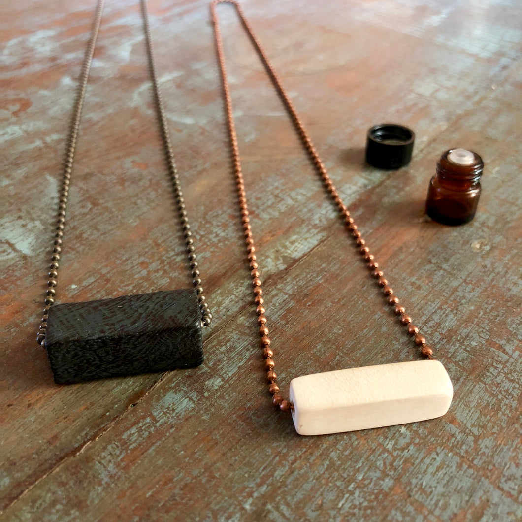 Wood Diffuser Necklace - Long Rectangle