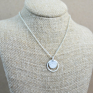 Hammered Halo Pendant - sterling