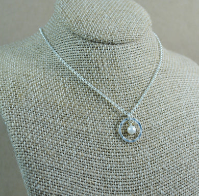 Pearl Halo Pendant - sterling silver