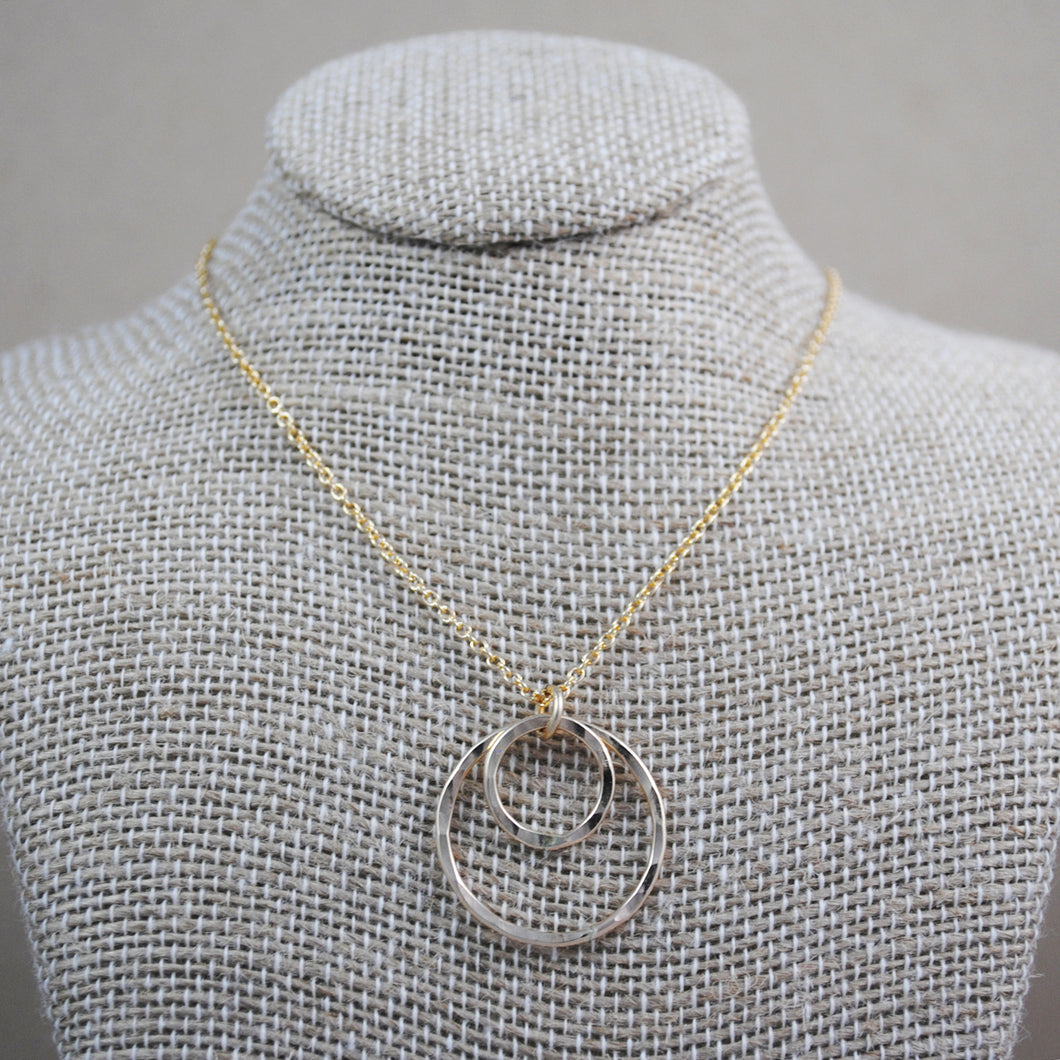 Double Ring Pendant - gold-filled