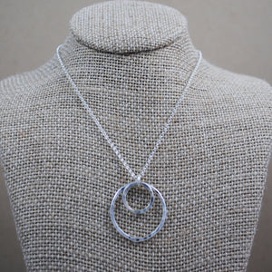 Double Ring Pendant - sterling silver