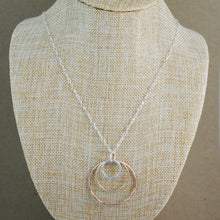 Triple Ring Pendant on Long Chain - mixed metals