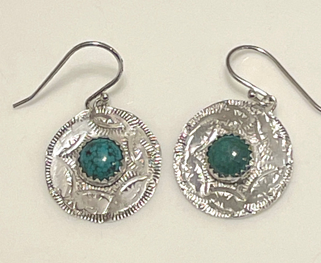 Turquoise Western Style Patterned Disk Earrings
