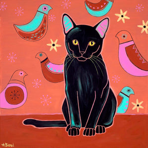 """Retro Gato"" - Black Cat Matted Print"