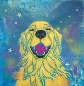 """Sunshine Smiles"", Golden Retriever Matted Print"