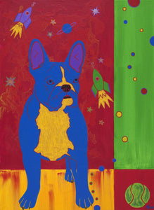 """The Dog from Outer Space"" - Frenchie Matted Print"