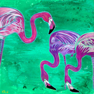 """Three's Company"" - Flamingo Matted Print"