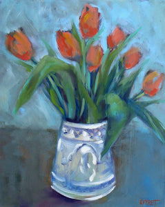 Tulips in Blue and White Vase