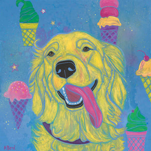 """Waiting for the Ice Cream Truck"" - Golden Retriever Matted Print"