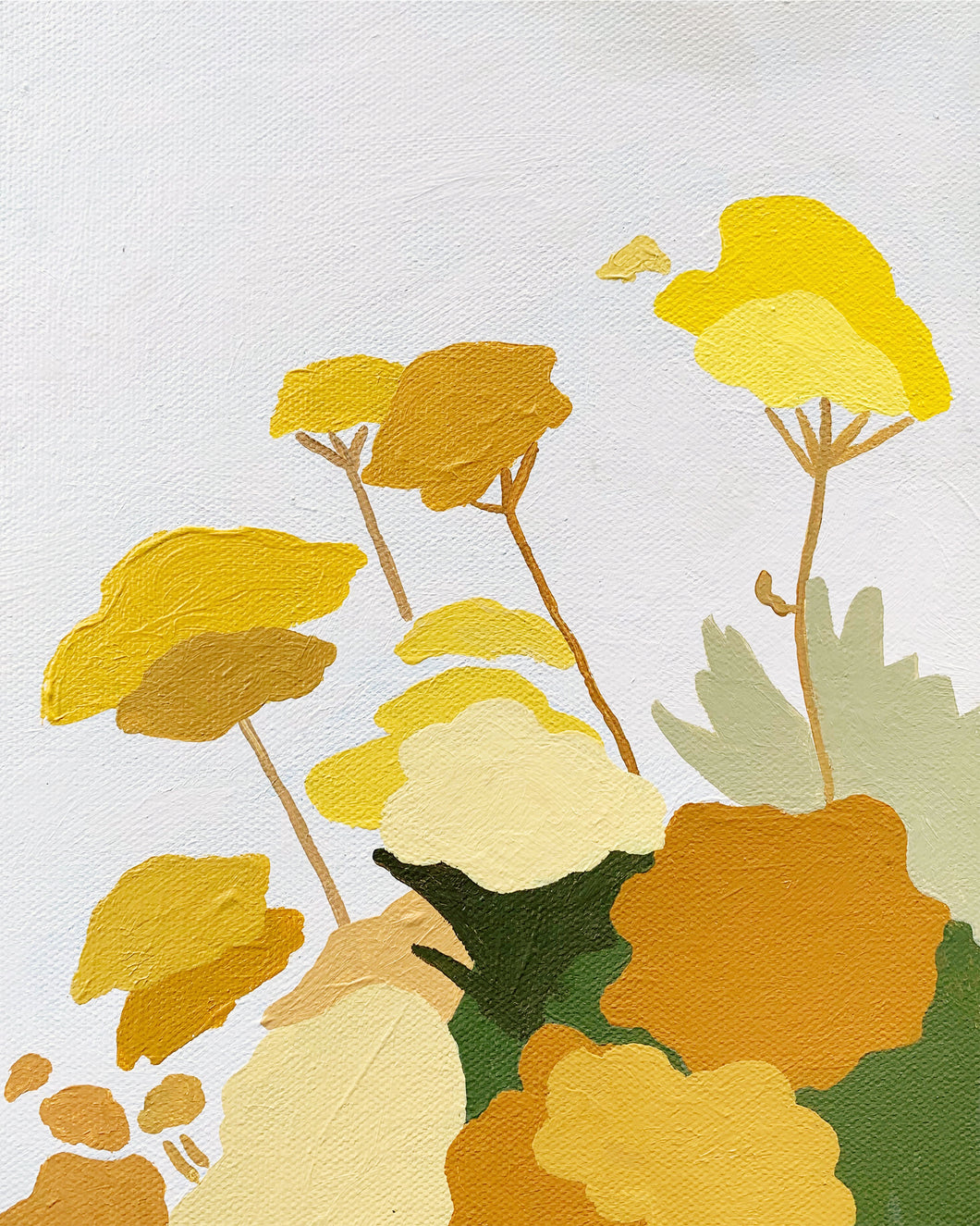 Yellow Spring Flowers Original Painting