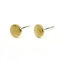 Brass Flat Dot Earrings