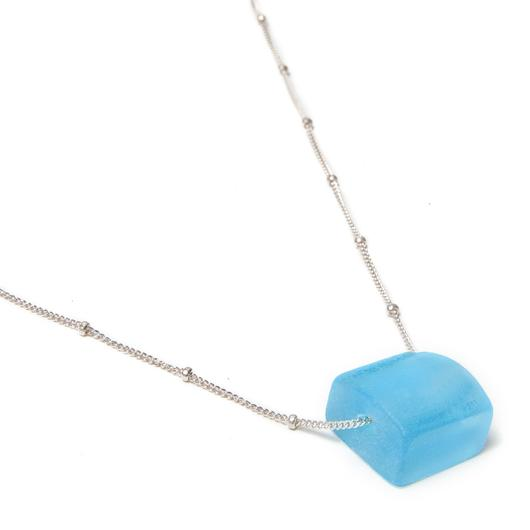 Small Cube Silver Necklace