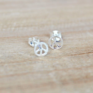 Peace Sign Earrings - Sterling Silver
