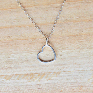 Open Heart Necklace - Sterling Silver
