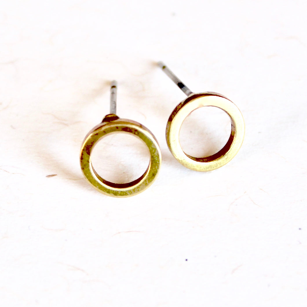 Brass Open Circle Earrings