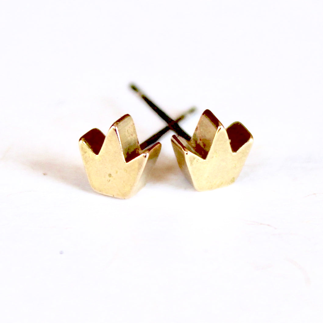 Brass Crown Earrings