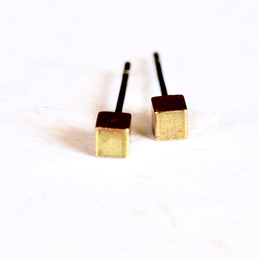 Brass Mini Cube Earrings