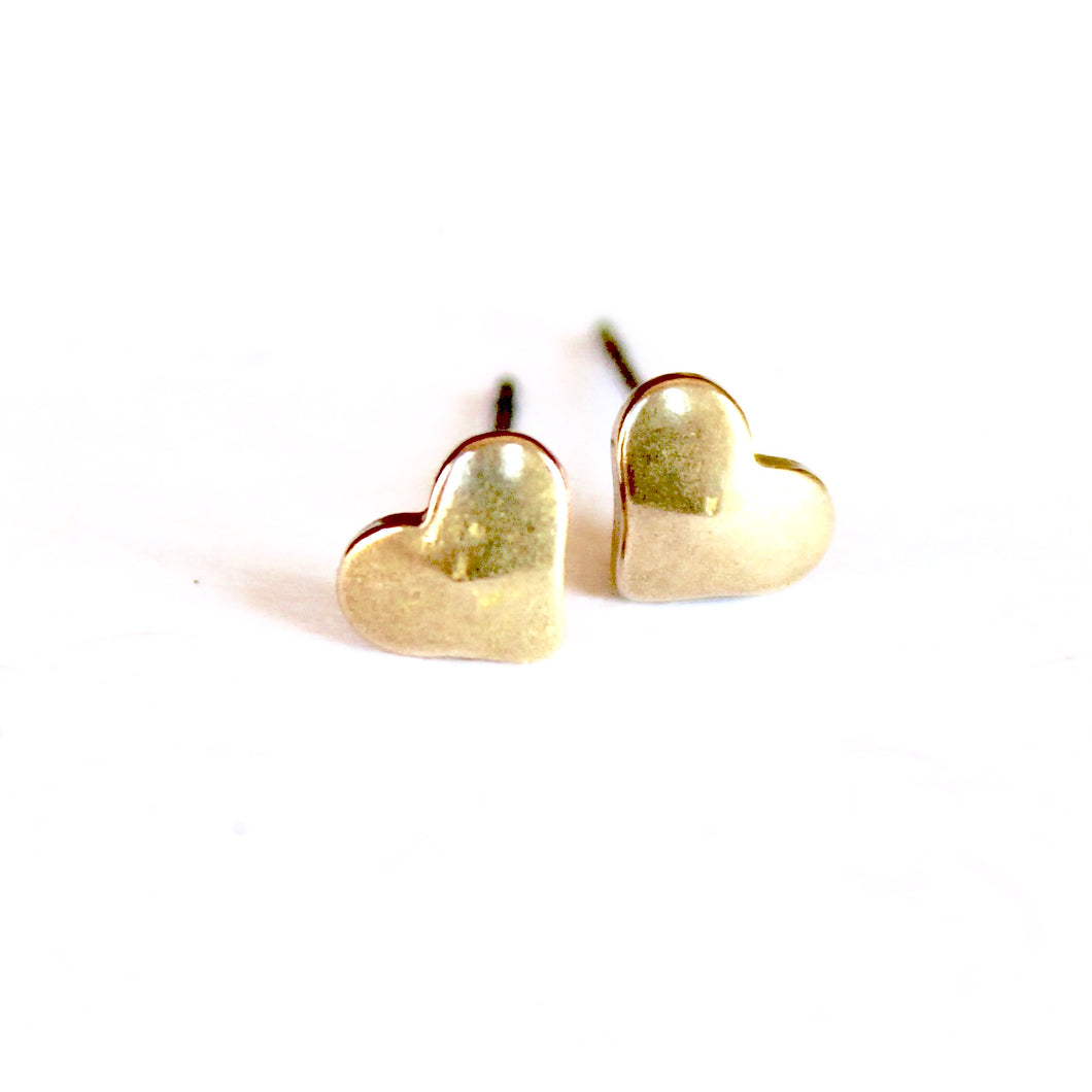 Brass Puffy Heart Earrings