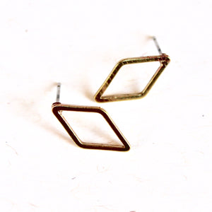 Brass Open Diamond Earrings
