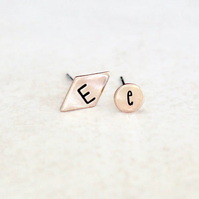 Initial Mismatch Earrings - Diamond & Round