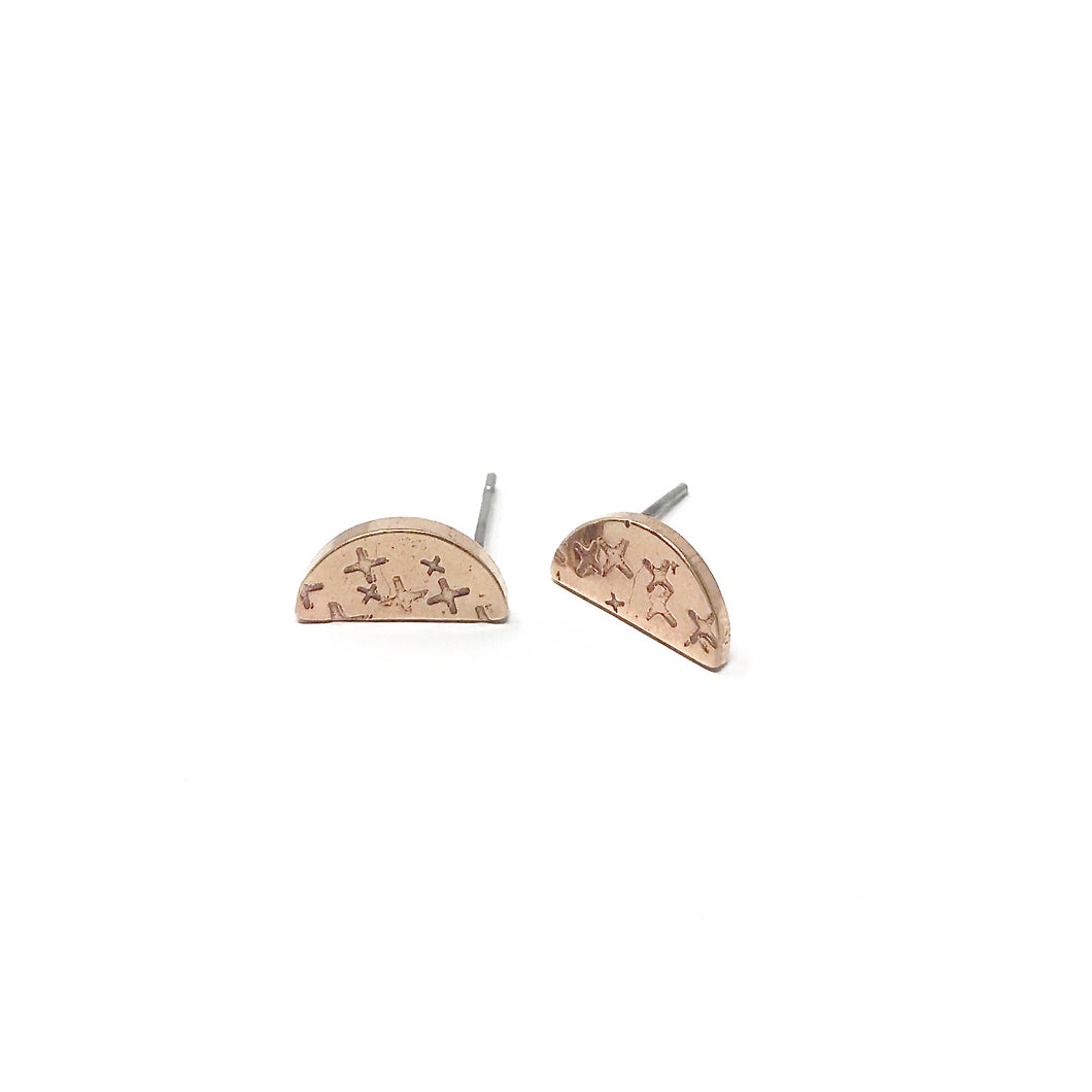 Brass Semi Circle Earrings - Crosshatched