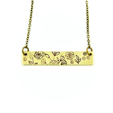 Floral Bar Necklace - Brass
