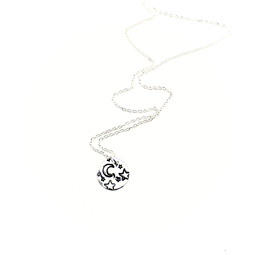 Moon & Stars Necklace - Sterling Silver