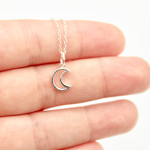 Open Moon Necklace - Sterling Silver