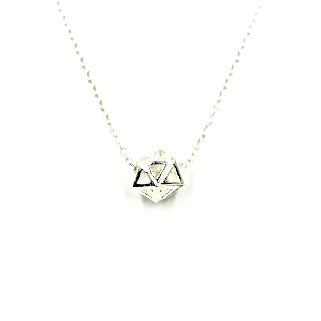 Geometric Bead Necklace - Sterling Silver