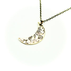 Floral Moon Necklace - Brass