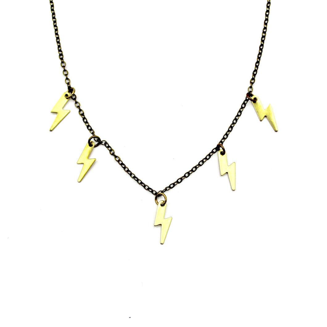 Sprinkle Necklace - Brass Lightning Bolt